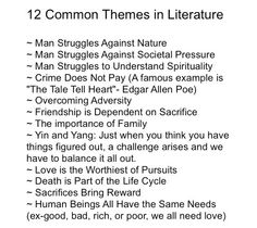 12 Common Themes in Books (except some of these are more moral than theme; maybe discuss how to turn these into actual themes?)