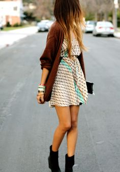 Dress, cardigan, and black ankle boots