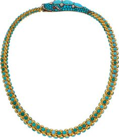 Victorian Turquoise, Diamond, Garnet, Hair, Silver-Topped Gold Necklace The necklace features round and oval-shaped turquoise cabochons measuring 1.50 mm to 13.05 x 7.60 mm, enhanced by European and rose-cut diamonds weighing a total of approximately 0.90 carat, set in 18k gold, accented by oval-shaped garnet cabochons weighing a total of approximately 0.30 carat, set in silver-topped gold. Gross weight 60.10 grams.