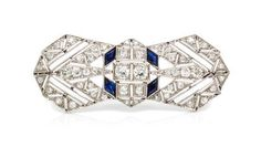 An Art Deco Platinum, Diamond and Synthetic Sapphire Brooch, Austrian, 5.90 dwts. - Price Estimate: $600 - $800