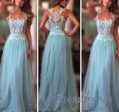 2016 beautiful cross back blue tulle long prom dress with lace straps, ball gown, prom dresses for teens #coniefox #2016prom