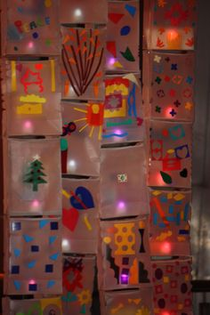 Light bulbs created by school children as a part of craft work for Light in Winter - Solstice celebrations