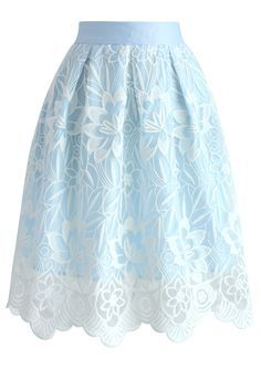 Lotus Fairy Pleated Skirt in Sky Blue - New Arrivals - Retro, Indie and Unique Fashion