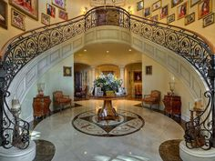 This stunning Mediterranean style estate in Fort Lauderdale, Florida is located on the waterfront with square feet of living space. A beautiful grand staircase welcomes you at the foyer upon entering the home. Luxury Mediterranean Homes, Mediterranean Decor, Luxury Homes, Double Staircase, Grand Staircase, Fort Lauderdale, Home Interior Design, Interior Architecture, Mansion Interior