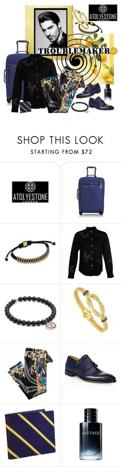 """""""Troublemaker.... Atolyestone London"""" by carola-corana ❤ liked on Polyvore featuring Tumi, Valentino, Saks Fifth Avenue Collection, Christian Dior, Anya Hindmarch, men's fashion, menswear, atolyestone, uniquelydesigned and mensjewellery"""