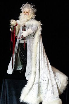 Ice King Santa by Lynn West Designs. He looks like a Shakespearean Santa Father Christmas, White Christmas, Vintage Christmas, Christmas Holidays, Christmas Decorations, Christmas Mantles, School Decorations, Elegant Christmas, Victorian Christmas