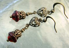 Valentines Day Earrings Vintage Inspired Filigree by lilruby, $20.00
