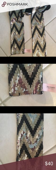 2 Juicy Couture Sequin Scarfs gold & black sequins with black velour on the other side black sequins with black velour on the other side New Condition Juicy Couture Accessories Scarves & Wraps