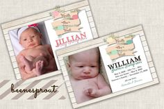 Floral Banner Birth or Adoption Announcment by beenesprout on Etsy