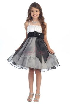 White/Black Satin Bodice Organza Flower Girl Dress