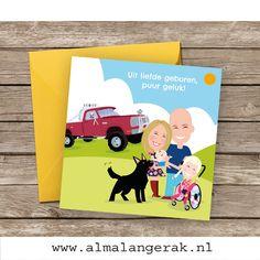Op deze geboortekaarten staan papa, mama en grote zus Juna (in haar stoere rolstoel) nagetekend als cartoon. Ook de herdershond van het gezin en de Jeep mochten op deze kaarten niet ontbreken.   Joyce, Frank en Juna, als jullie dit lezen, ik wens jullie heel veel geluk met zijn vieren  #geboortekaartjes #geboortekaarten #herder #hond #huisdier #cartoon #nagetekend #gezin #portret #rolstoel #jeep #auto