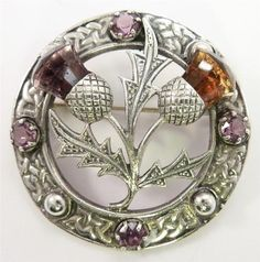 Vintage 30's Silver Scottish Style Thistle Brooch Amethyst Citrine Paste | eBay