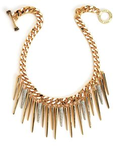 PAVE AND GOLD SPIKE CHAIN NECKLACE - Juicy Couture