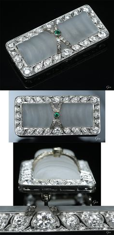 Art Deco frosted glass brooch, Europe or America, ca. 1920-1930, frosted glass or frosted rock Crystal, old European cut diamonds, emerald, 14k white gold, 2 × 4.4cm, weight 13.8g
