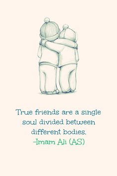 True friends are a single soul divided between different bodies. -Imam Ali (AS)