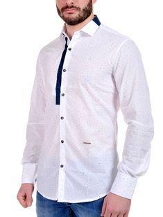 1416453eddc7 STEFAN Ανδρικό Italian Design slim fit λευκό πουά πουκάμισο
