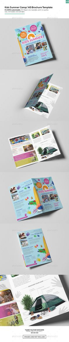 Kids Summer Camp Rack Card And Voucher Template  Print Templates