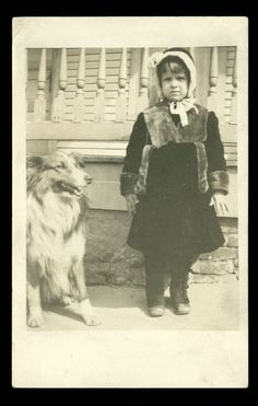 Vintage DARLING GIRL & DOG RPPC Postcard 1910s PERRY COUNTY PA. Estate