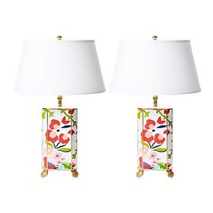 Dana Gibson Chintz Table Lamp Pink Multi Table Lamps ($395) ❤ liked on Polyvore featuring home, lighting, table lamps, rectangle table lamp, traditional lamps, rectangular lamps, rectangular table lamp and traditional lighting