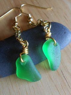 Sea Glass Earrings  Beach Glass Jewelry  ONCE IN by SeaFindDesigns, $18.00