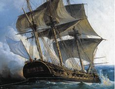 Canvas print An 18th century French frigate, very similar to the Hermione, in combat with the British. Painting by Gilbert Pierre Julien.