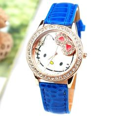 Cute Hello Kitty Watch; Crystal Decorated Around Watch Face