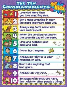 Ten Commandments for Kids with interesting video. And, read the actual Ten Commandments from the Bible. Sunday School Games, Sunday School Lessons, Sunday School Crafts, School Staff, Tot School, School Humor, School Classroom, Bible Study For Kids, Kids Bible