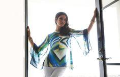 Flight of Fancy – A breezy, flowing tunic with crisp white denim. #BlackLabel #chicos