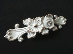 French Country Cottage Chic White Flower Dresser Drawer Pulls by LynnsGraceland, $9.00