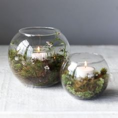 Fillable Bowl Tea Light Holder : This double-layered bowl offers an interior pedestal for a tiny tea light, and a surrounding space to add decorative plantings, cuttings, or stone. Christmas Wedding Themes, Christmas Decorations, Christmas Crafts, Wedding Centerpieces, Wedding Decorations, Table Decorations, Outdoor Table Centerpieces, Candle Centerpieces, Woodland Theme Wedding