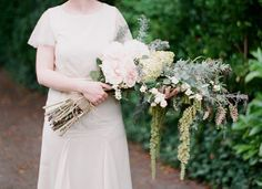 Presentation Style Bridal Bouquet Featuring Pastel Pink Cabbage Roses, Green Snowball Viburnum, Green Amaranthus, & Several Varieties Of Gorgeous Greenery/Foliage····· Non Flower Bouquets, Wedding Bouquets, Floral Wedding, Wedding Flowers, Presentation Styles, Graduation Photoshoot, Alternative Bouquet, Cabbage Roses, Wedding Table Settings