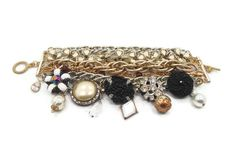 Charm Bracelet Multi-Chain Gold White Black Big by InVintageHeaven