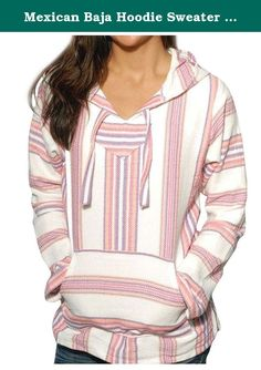 Mexican Baja Hoodie Sweater Jerga Pullover Pink Purple White (Large). Our Mexican baja hoodies are durable, warm and soft outwear that are practical for cool or cold weather. Casual and comfortable, the baja is great for everyday leisurely wear. Whether over your T-shirt on cool summer nights or over multiple layers, the baja is a great choice for look, comfort and warmth. Made of premium quality cotton blend, this product features a front pocket and hood. On those crisp fall days, simply...
