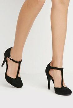 Faux Suede T-Strap Pumps