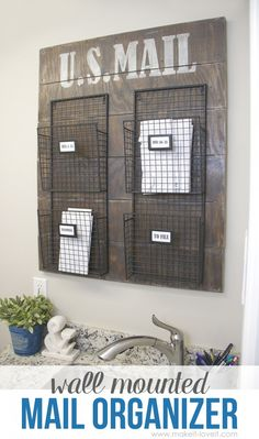DIY Mail Organizers - Wall Mounted Mail Organizer - Cheap and Easy Ideas for Getting Organized - Creative Home Decor on A Budget - Farmhouse, Modern and Rustic Mail Sorter, Organizer Mail Organizer Wall Mount, Wand Organizer, Diy Home Decor On A Budget, Cheap Home Decor, Mail Sorter, Wall Organization, Organization Ideas, Organizing Tips, Wood Projects