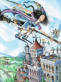 """""""Winnie Flies Again"""" By Korky Paul And Valerie Thomas (published by Oxford University Press Witch Wallpaper, Kids English, Halloween Pictures, Children's Book Illustration, Magazine Art, Children's Books, Cartoon Art, Illustrators, October"""