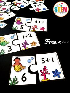 Need a playful way to practice addition to ten?! This match up is a must-try. Kids will love pairing the math fact with the matching sum. Print it once and play it again and again! I recently bought some mermaid erasers to use as counters, and suddenly anything thatgivesmyfirstgraders achance to break them out is an instant HIT! At this point, I would say mystudents