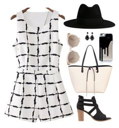 """Ink Plaid Romper"" by seafreak83 ❤ liked on Polyvore featuring Mint Velvet, Fiorelli, Yves Saint Laurent, blackandwhite, romper, layout and flatlay"
