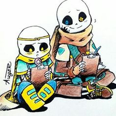 Dreamtale sans and inktale sans. Dream:ink, do you think this drawings look so…