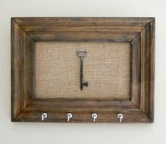 Key Holder/ Skeleton Key / Key Rack / Rusitc / Vintage Wood Frame / Home Decor / Wall Hanging