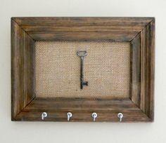 Key Holder/ Skeleton Key / Key Rack / Rusitc / Vintage Wood Frame / Home Decor / Wall Hanging