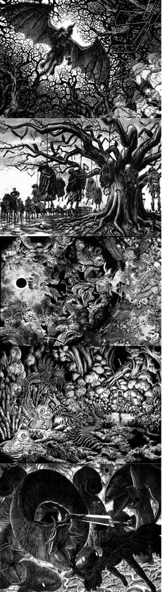 Artwork from Kentaro Miura for Berserk. Simply beautiful. Read this manga. It's quite a dark story, to say the least