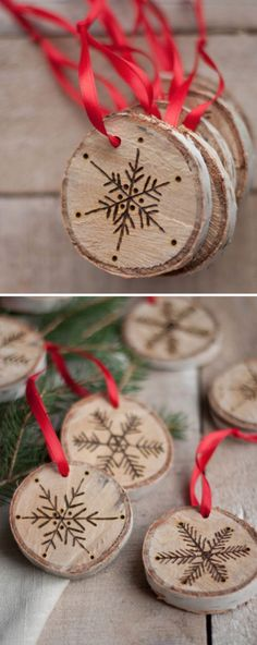 Perfect Etched Snowflake Ornaments in Birch [SOURCE] These would be cute with stamps as well.