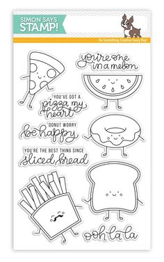 {margin: font: Helvetica} New from our New Beginnings collection. Simon Says Stamp clear stamps are high quality photopolymer and made in the USA. The stamp set measures 4 inches x 5 inches. This stamp coordinates with our wafer die set Funny Food Love Doodles, Simple Doodles, Love Stamps, Clear Stamps, Food Humor, Funny Food, Christian Poems, Kids Poems, Card Sentiments