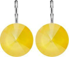 Buttercup Yellow Rivoli Earrings w/ Swarovski Crystals Antique Earrings, Antique Jewelry, Vintage Jewelry, Real Gold Jewelry, Bronze Jewelry, Petra, Art Deco Earrings, Swarovski Crystal Earrings, Affordable Jewelry