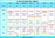 The 21 DAY Fix weekly meal plan!!! Totally doable, easy and color coded based on the containers! #21dayfix #mealplan www.melaniemitro.com