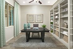 Thoughtfully designed study | Townsend model home | Tucson, Arizona | Richmond American Homes Corporate Office Design, Modern Office Design, Office Interior Design, Office Interiors, Office Designs, Richmond American Homes, Commercial Office Design, Industrial Office Design, Solid Wood Desk