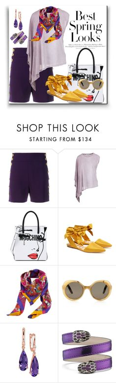 """spring look"" by georgine-d ❤ liked on Polyvore featuring Chloé, H&M, IRO, Moschino, Sam Edelman, Hermès and Bulgari"