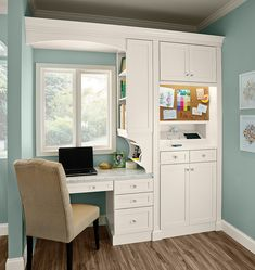 A Desk, Charging Station and Message Board give everybody a communications center. The desk area can also serve as a mini office. (KraftMaid cabinets in Dove White) Built In Desk, Home Office Desks, Office Cabinets, Mini Office, Home Office Cabinets, Home, Office Cabinet Design, Trendy Home, Office Design