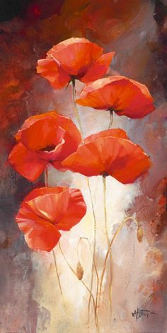 Poppy Bouquet I Canvas Art - Willem Haenraets x Watercolor Flowers, Watercolor Paintings, Poppies Painting, Poppy Flower Painting, Flower Oil, Watercolors, Poppy Bouquet, Contemporary Abstract Art, Arte Floral